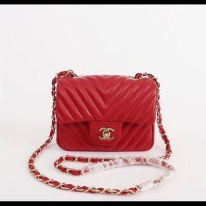 Chanel red shoulder bag